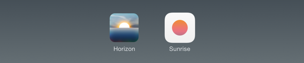 The icons for Horizon and Sunrise in 2013.
