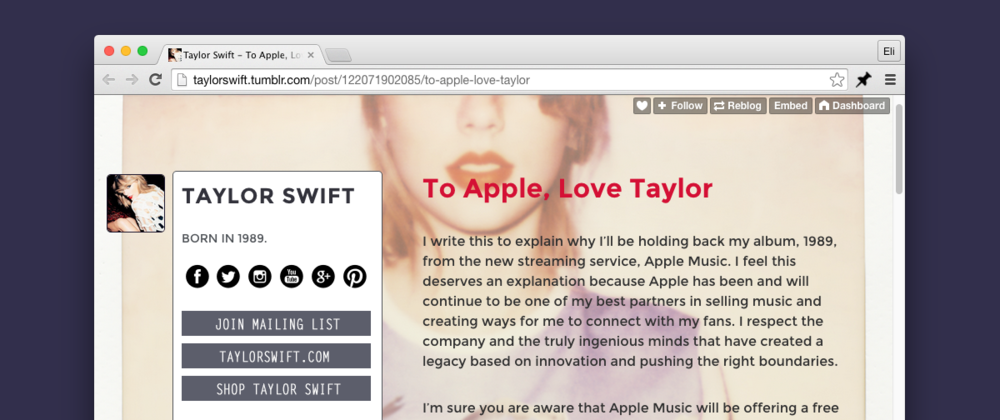 Swift's love letter to Apple.