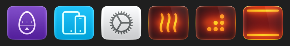 Interface buttons for the oven.