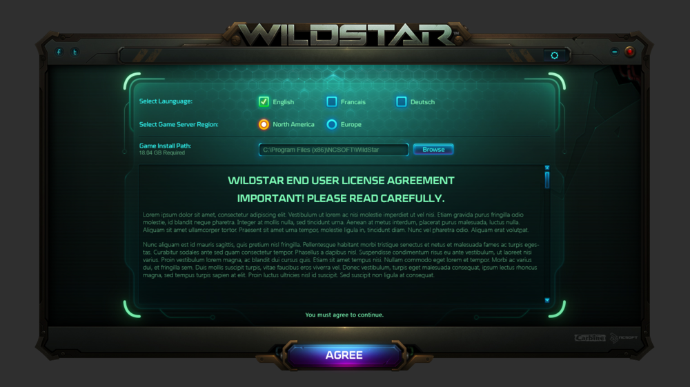 Wildstar installation screen.