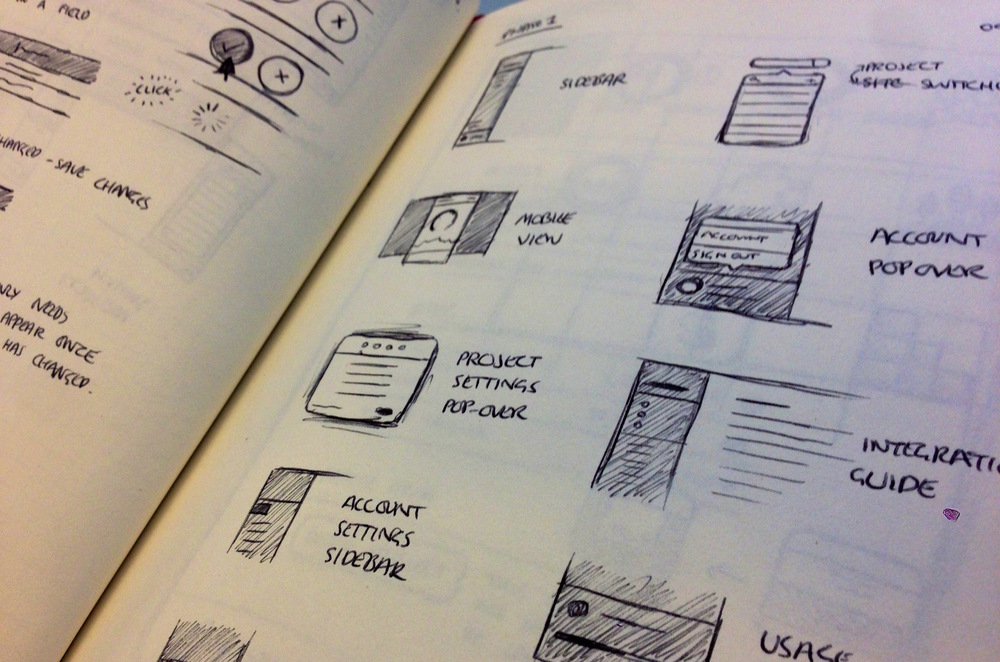Sketches of site elements on GoSquared.