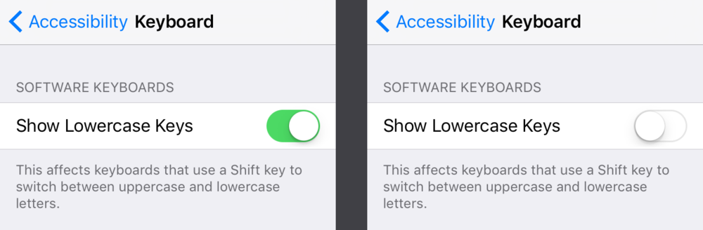 One can change back to the all-caps keyboard in Accessibility settings.