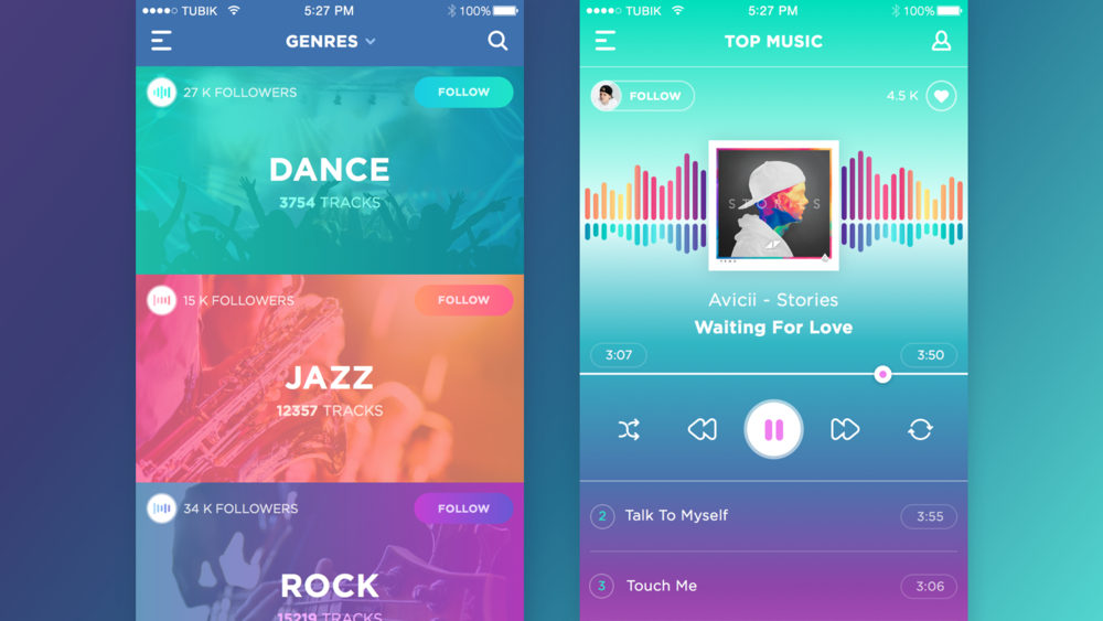 Neon music app by Ukrainian studio, Tubik.