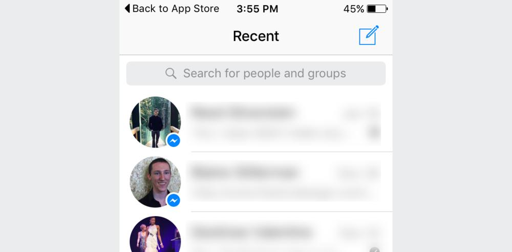 Facebook Messenger with white navigation bar.