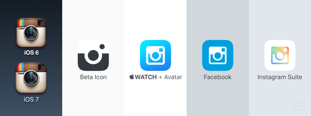 Directions Instagram is exploring in their icon design. (Far right is a speculative rendering I drew based on their suite of apps.)