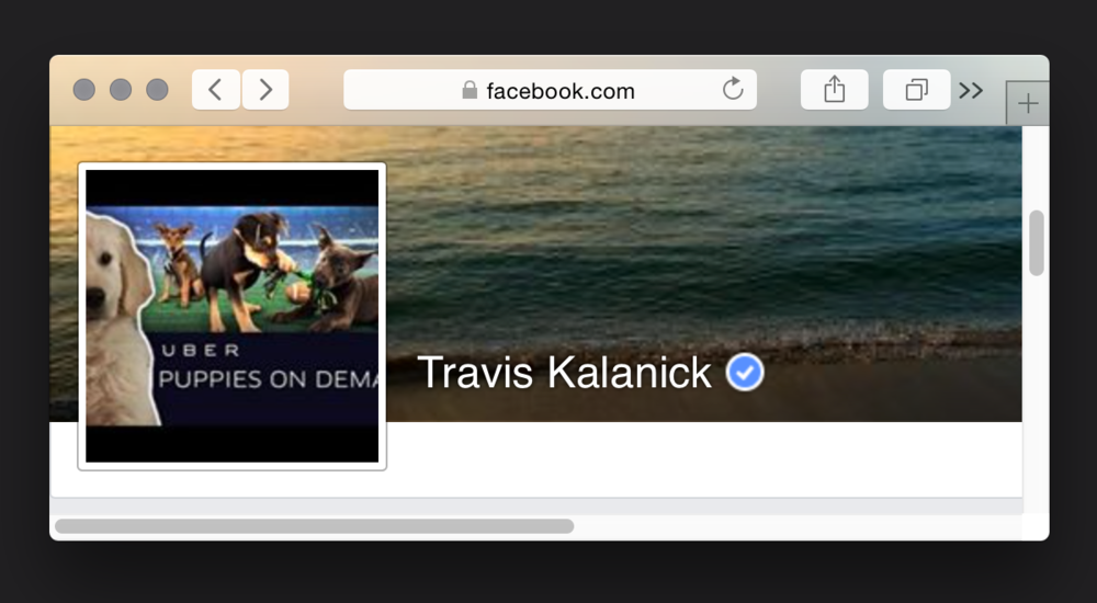Kalanick's Facebook profile.