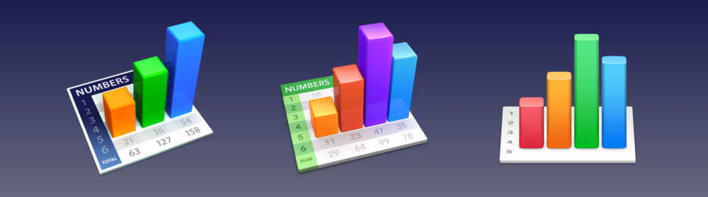 Similar to the Textsoap icon, Apple's Numbers icon has gotten blunted since OS X Yosemite. Nevertheless, the Numbers icon has always fascinated me given that it is one of the only icons on OS X to have its own unique perspective.