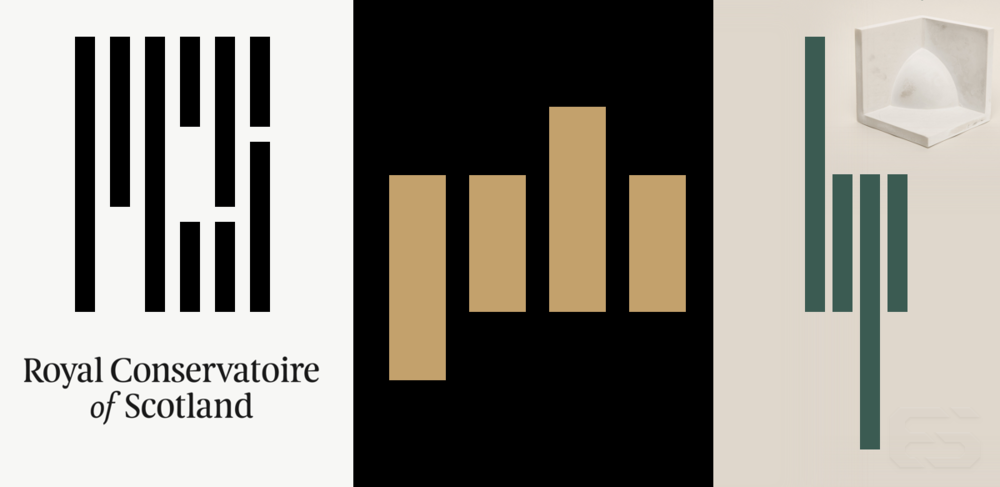 The logos for the Royal Conservatoire of Scotland, Premium Beat, and Heathered Pearls on the 2015 album Body Complex.