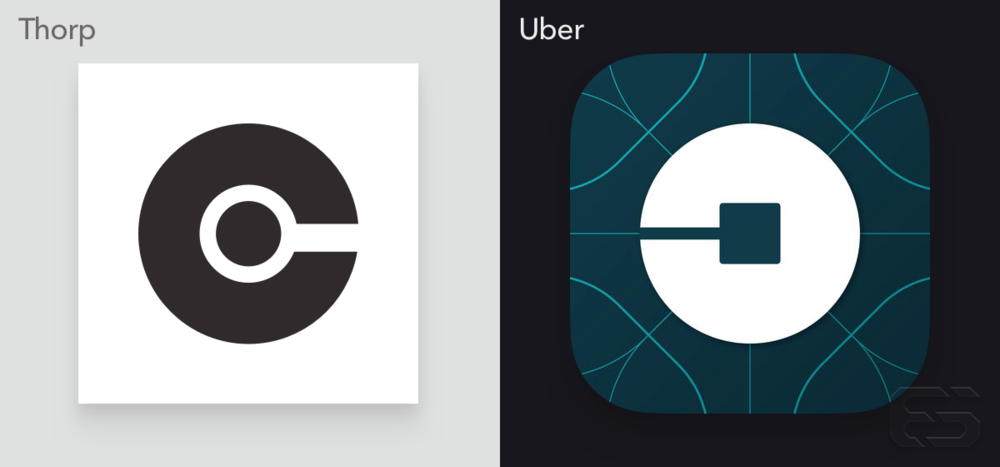 The glyphs for Ash Thorp's Collective Podcast and Uber's icon.