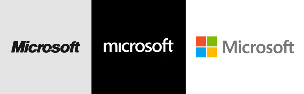Microsoft's previous logo (left), Kim's Microsoft logo (middle) and the final Microsoft logo.