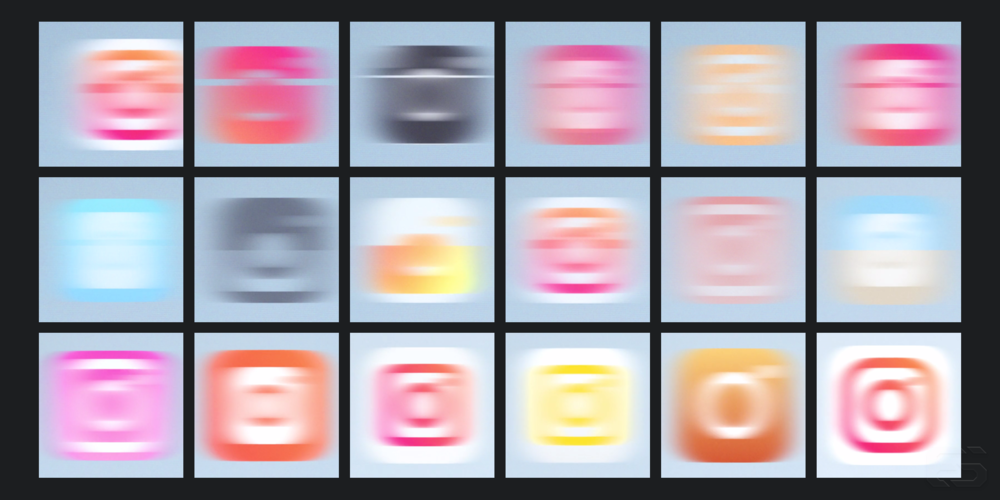 A selection of the icons Instagram used motion blur to obscure in their icon introduction video.
