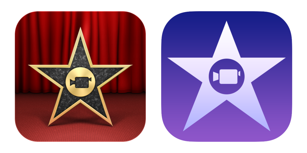 The iMovie icons Padbury designed for Apple before and after iOS 7.