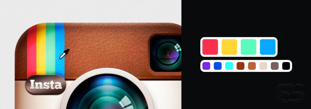 Left: an image from the new icon's launch video. Right: the colors that Instagram might have possibly sampled from the original icon.