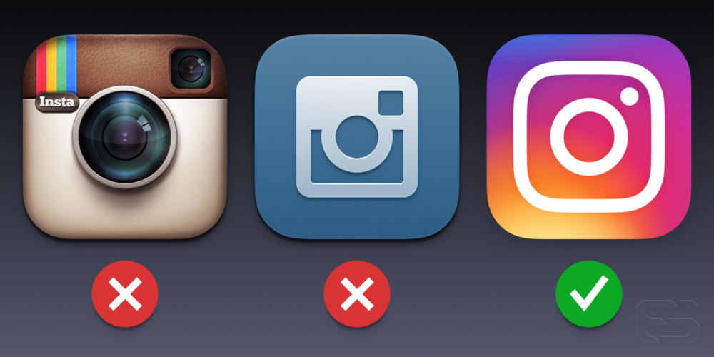 Left: the original Instagram icon, middle: a rendering I drew with the Van Damme glyph, right: the final Instagram icon with abstracted glyph.