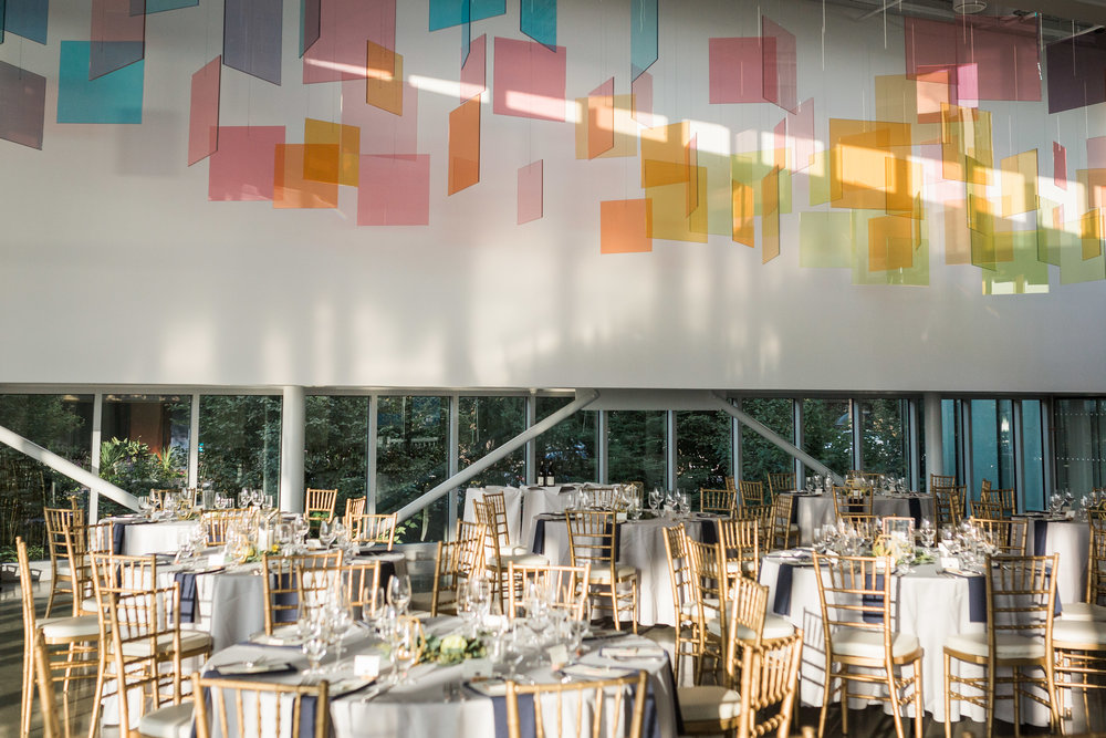 seattle-wedding-olympic sculpture park-reception-party-geometric-candles-greenery-blooms-modern
