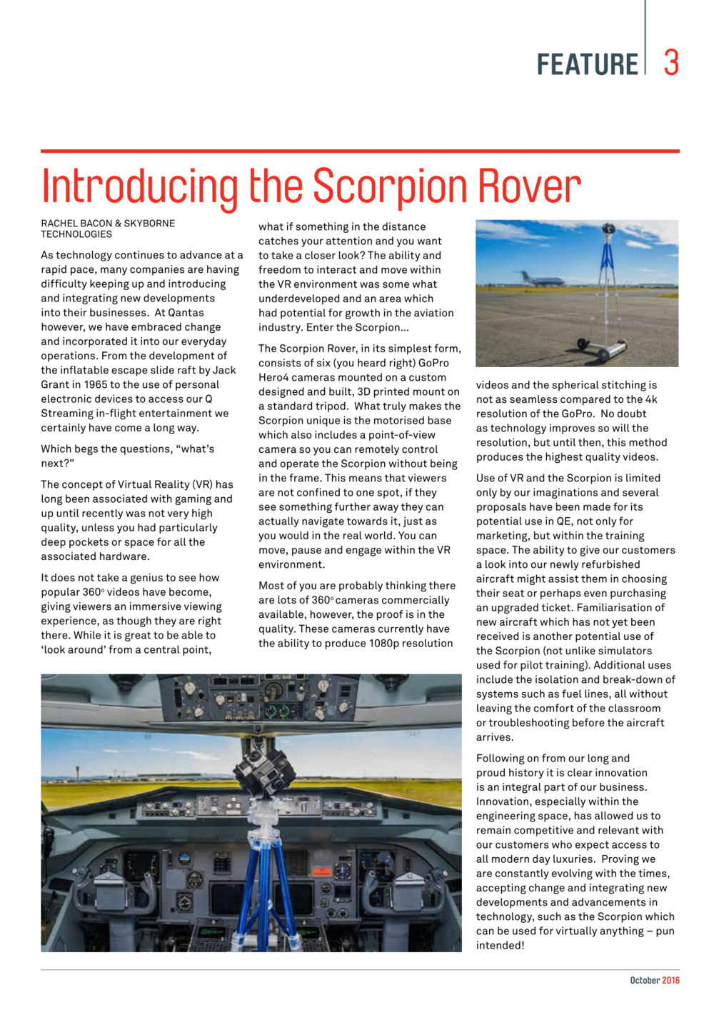 Skyborne technologies 'scorpion' vr rover product featured in qantas qtechtalk october 2016