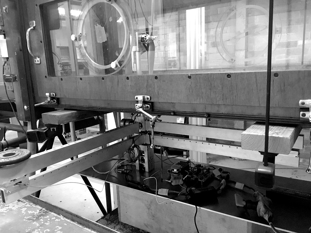 Wind tunnel integration - At angles of attack above zero, thrust measurements need to be taken in two axes in order to determine both thrust components and the reactionary torque produced. This torque is not easily calculated analytically and is more accurately measured through testing. Our data acquisition system can be mounted inside a wind tunnel for flight test data. We have access to the low-speed wind tunnels located in Brisbane.