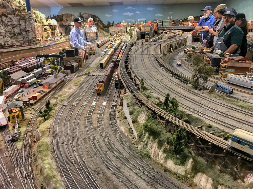 Operating action on the large layout of the Highland Pacific Railroad.