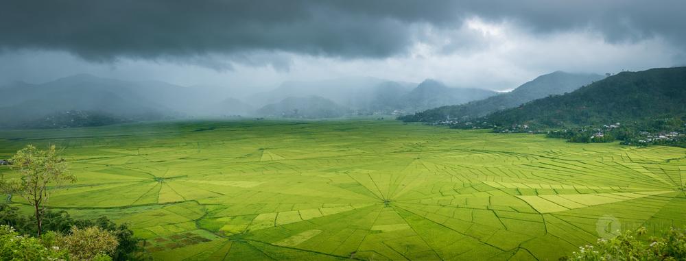Rain sweeps over the spiderweb paddies, Flores