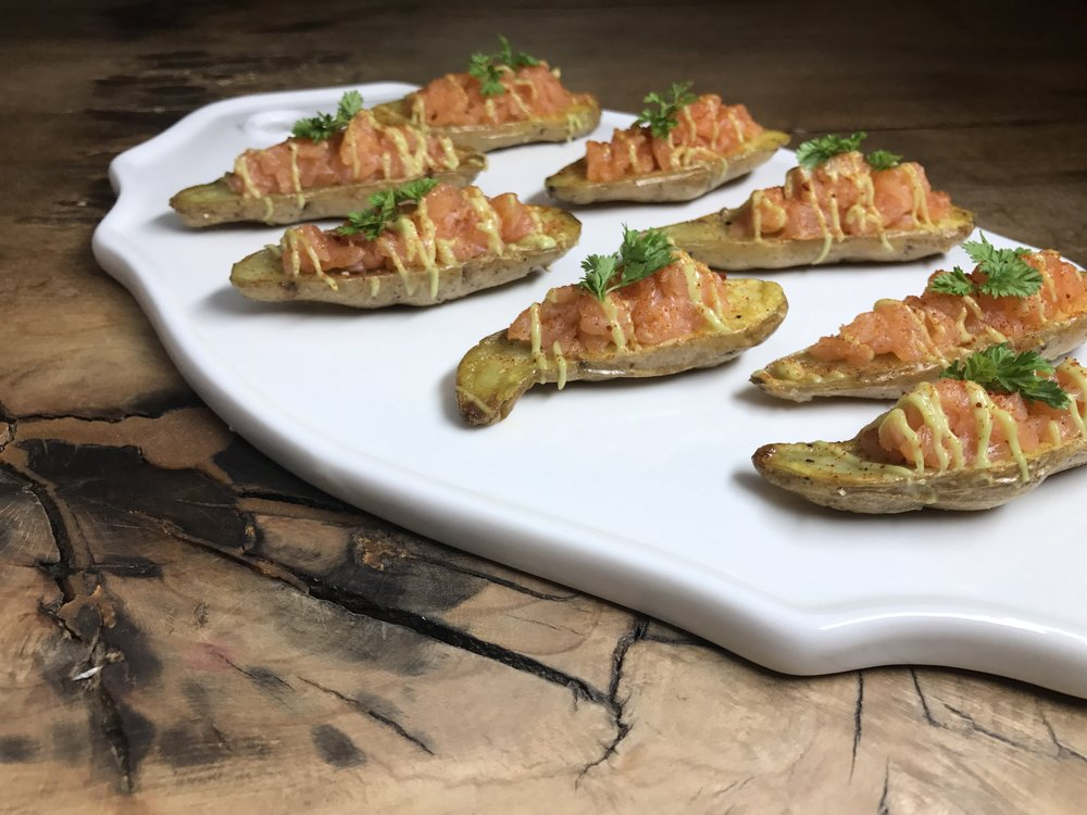 The unctuous flavor of these gluten free and FODMAP Friendly Salmon Potato Bites by Posh Belly's Kitchen will please your most discriminating guests but don't be afraid to treat your self with these healthy canapés any day!