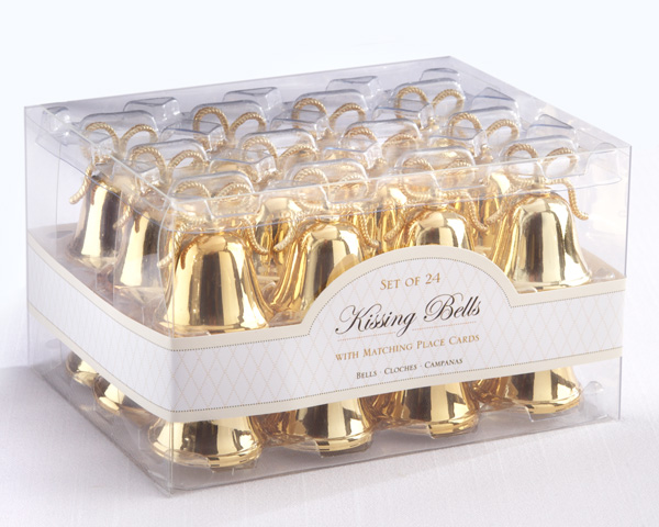 Gold Kissing Bells Place Card Holders With Cards 24