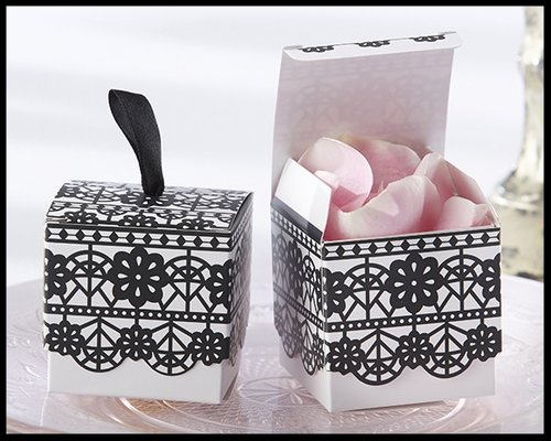 Black And White Lace Print Wedding Favor Box Set Of 24 Purchase 4