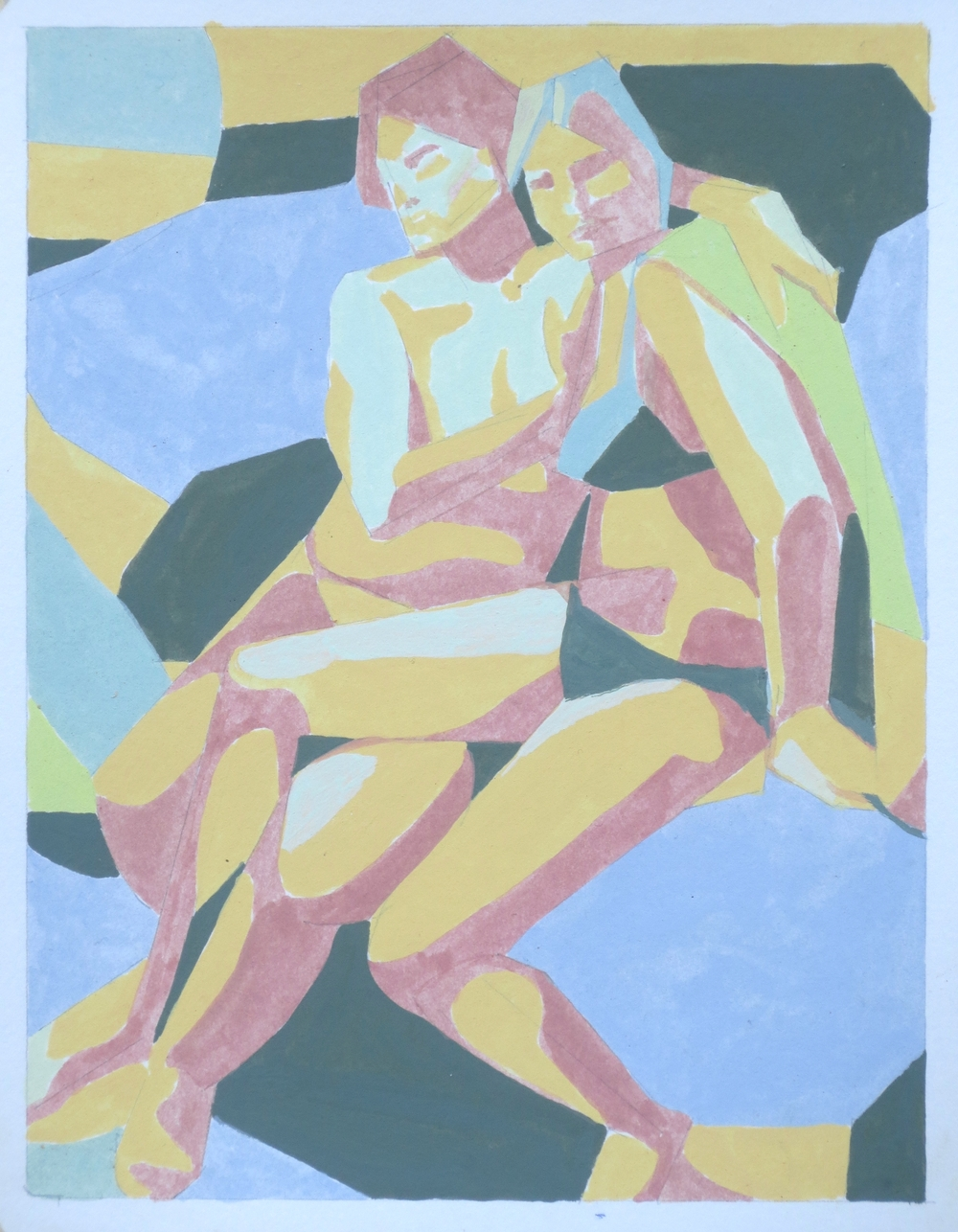 Couple on Rocks (after Carracci), 2015