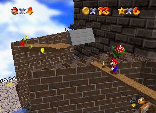"""In this day and age, grey-brown level design is all too common and unimaginative. SM64 sticks two fingers up at that and says """"Wahoo!"""""""