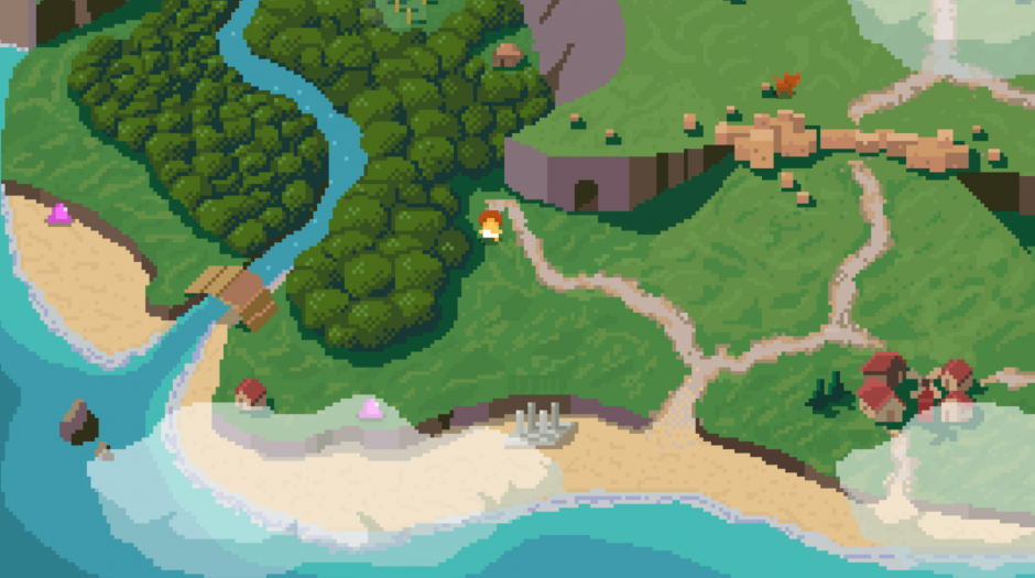The overworld. See those pink blobs, and that fox? They want to kill you. And they will - many, many times.