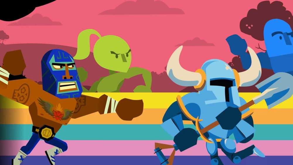 Some achievements unlock other indie characters - here eShop darlings Juan from  Guacamelee!  and Shovel Knight from  Le Chevalier De Shovel  duke it out. And Hue's still in the lead.