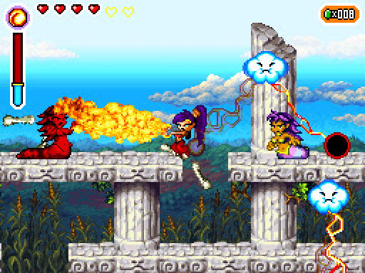 Shantae looks bored, shooting insane amounts of fire from her fingertips. We've all been there.
