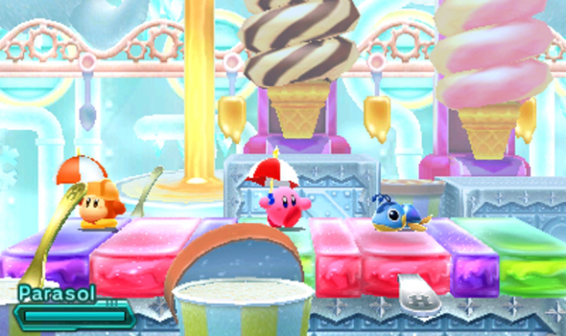 Kirby, the parasol star, takes a walk across some ice lollies. Avoiding the sun and staying cool?! You da man, Kirb - you da man.
