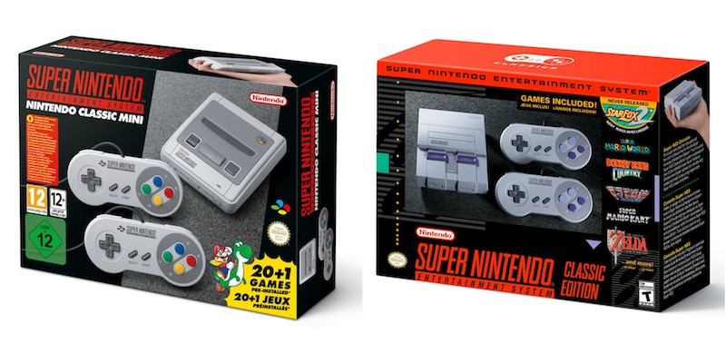 On the right, the American version of the SNES. The redesign team must have been Prince fans...
