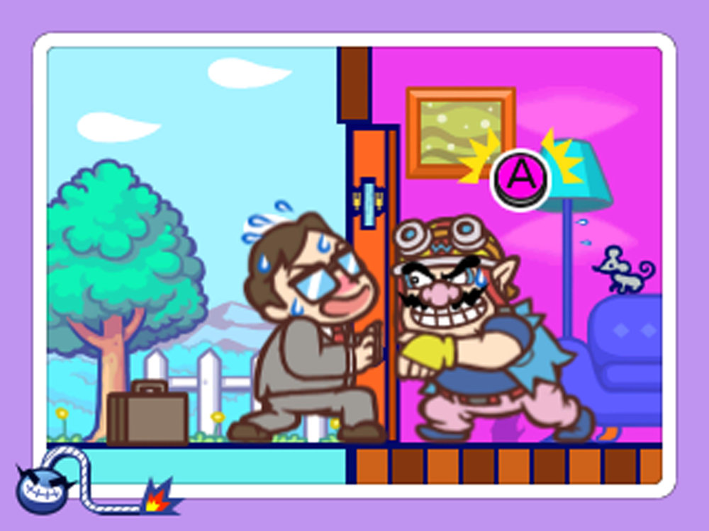 Hammer A to stop this salaryman from opening the door. Has Wario broken and entered?! Sometimes a microgame's plot is difficult to fathom.