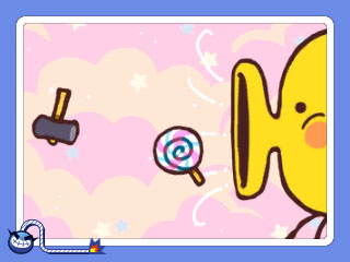 A Touch game: Kirby-esque Yellow Thing wants candy and not hammers. Doesn't want to hurt its teeth, see?