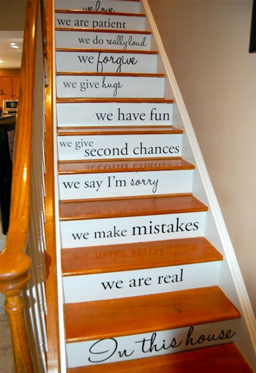 These Risers Feature Painted Words That Are Inspirational To The Family  Members. (decoratingfiles.com)