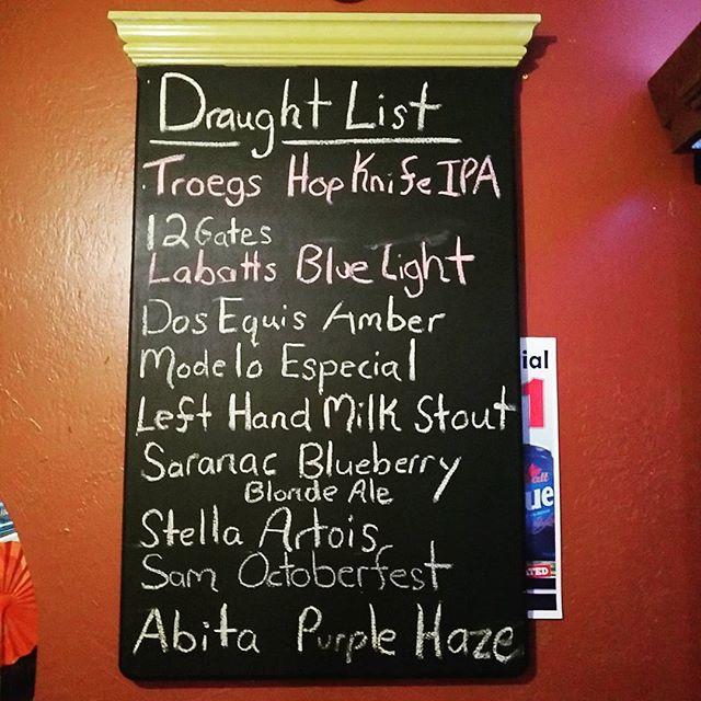 Current tap selection:  #draftlist #beer #beerme #craft #happyhour #tuesday #instagood