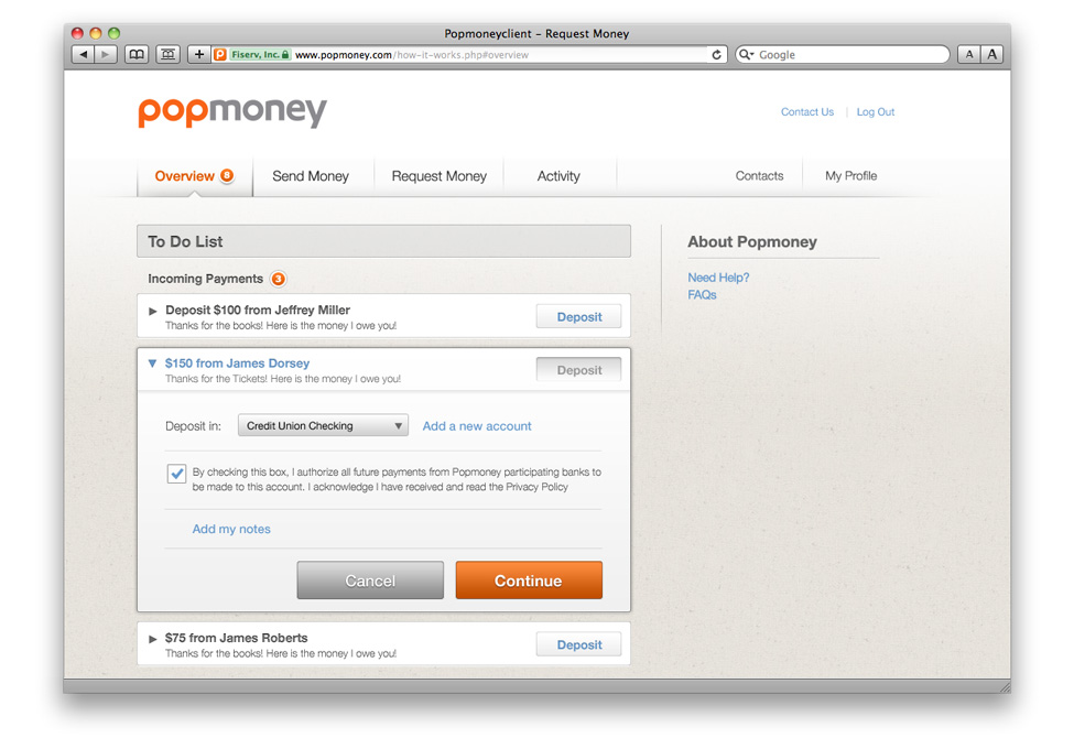 Send, request and recieve money the easy way. — Tom Newsom