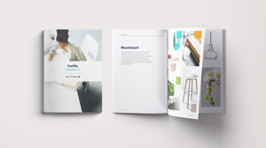 Separate handbooks addressing brand communication, exhibitions, digital channels and office materials