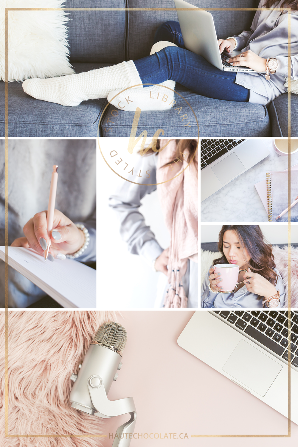 pink and grey feminine styled stock photos featuring lifestyle stock images with a female model working from home in cozy socks with laptop and tea in her hand