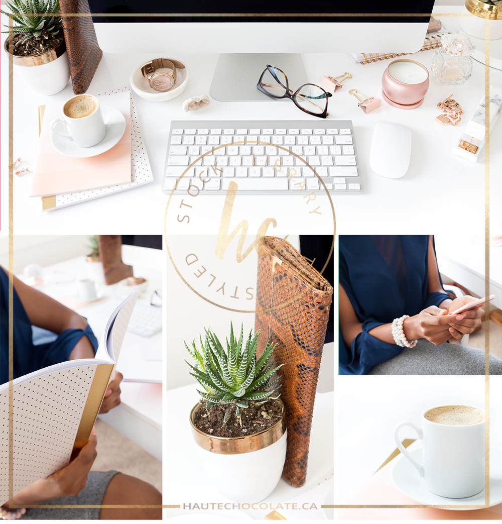 Black woman entrepreneur working at a styled desktop with accents of rose gold, peach, and navy