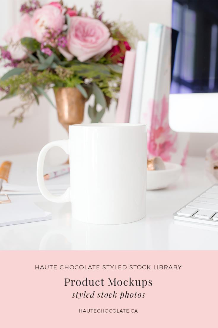 Feminine styled mockups featuring mug mockups, card mockups, invitation mockups, wedding suite mockups, and print mockups with frames from the Haute Stock Library