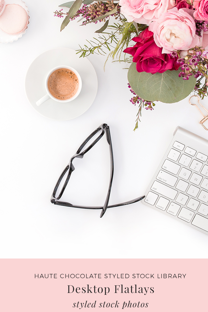 Stylish and feminine styled desktop stock photos from the Haute Chocolate Styled Stock Library feature pink, red and gold props. Don't you wish your desk could look like this every day?
