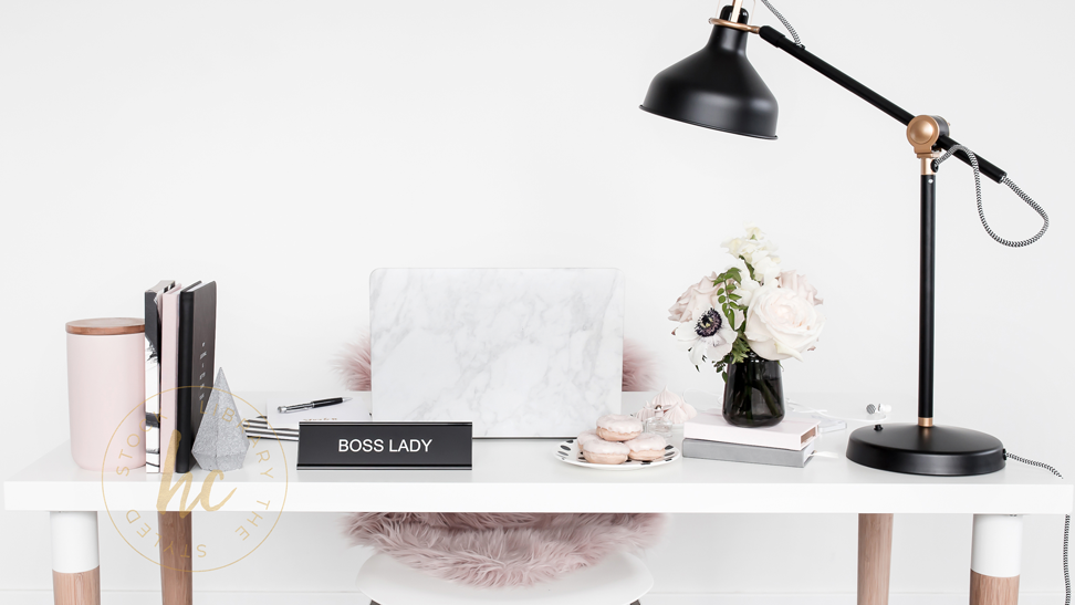 Haute Stock's Muted Blush & Black Collection that features workspace photos.