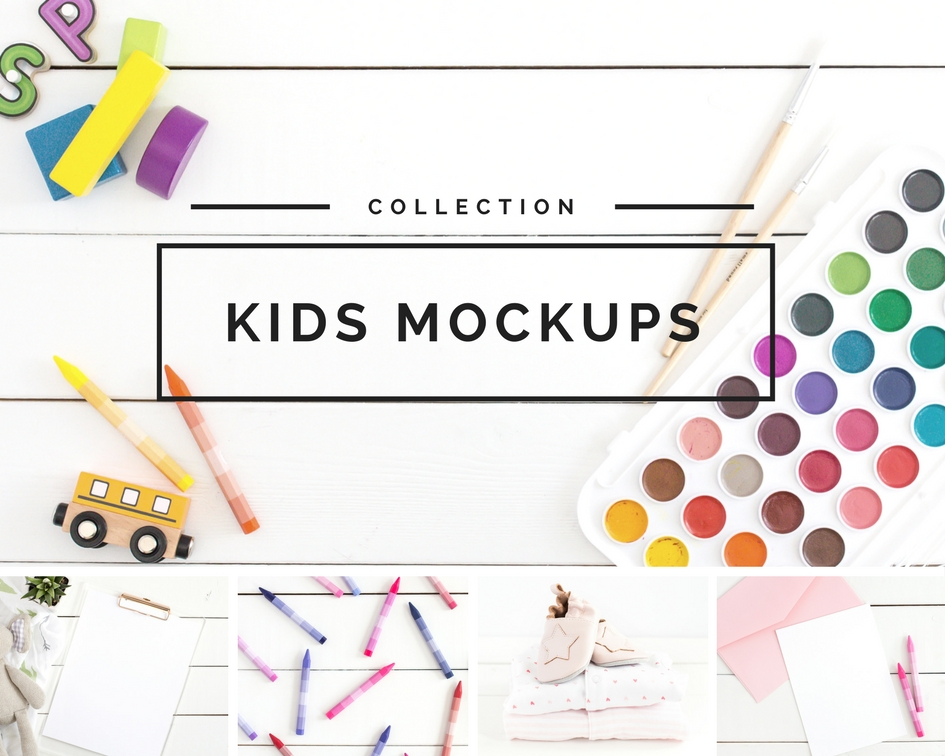 Flatlay and mockup stock photos for creators of kids product and parenting blogs from Haute Chocolate