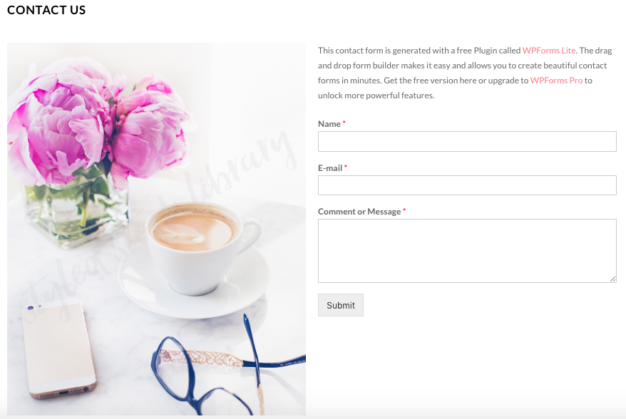 """Bluchic's example for how to use Haute Stock images to create beautiful """"Contact Me"""" website pages! To see more examples click to read the full blog post!"""
