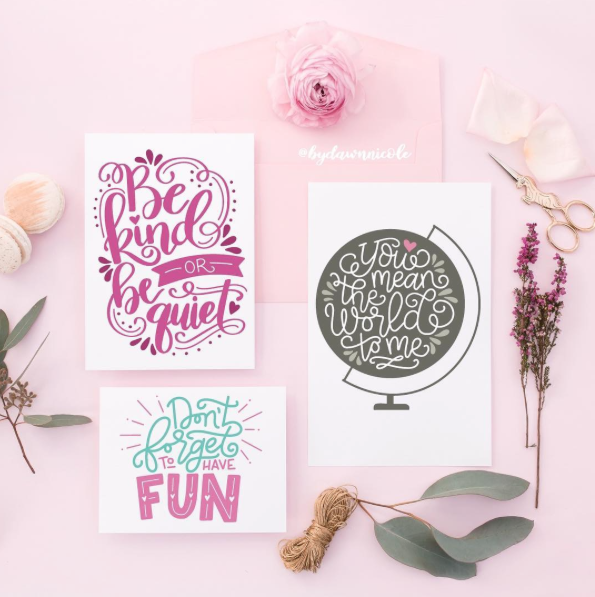 Dawn Nicole used our invitation suite mockup flatlay to really make her graphic work pop!