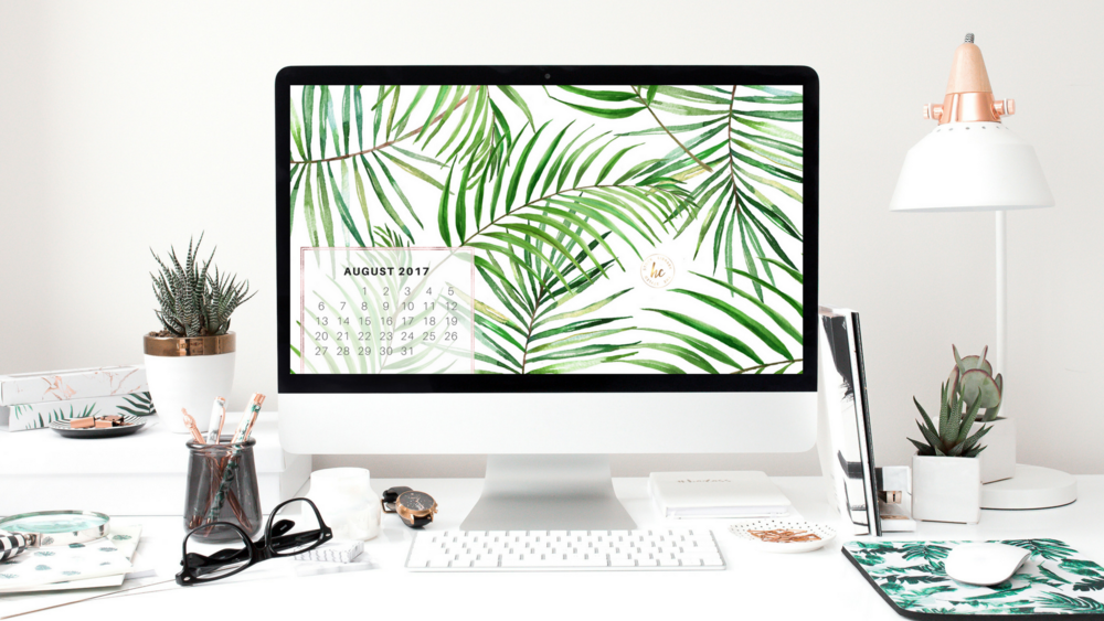 Need a wallpaper for your desktop or laptop? Stay on track with a stylish monthly wallpaper graphic. We designed this in Canva, using a background from our Tropical Graphic Pack.  *Please note that you cannot create products, like wallpapers, that use our images or graphics to share with other. Personal use only.