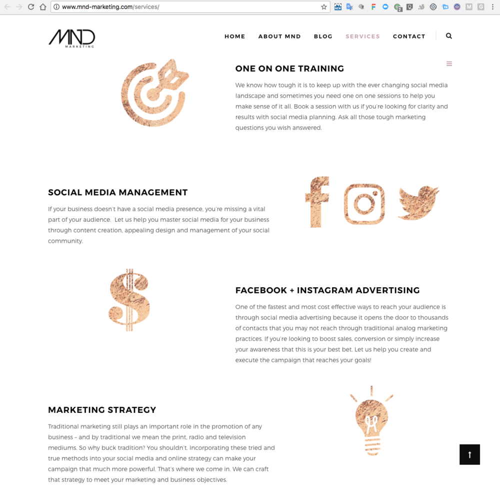 We love how Marisse from   MND Marketing   used these rose gold icons from our graphics packs to add some serious sparkle to her Services sales page. Using icons is a great way to break up lots of text and acts as an added layer of customization.