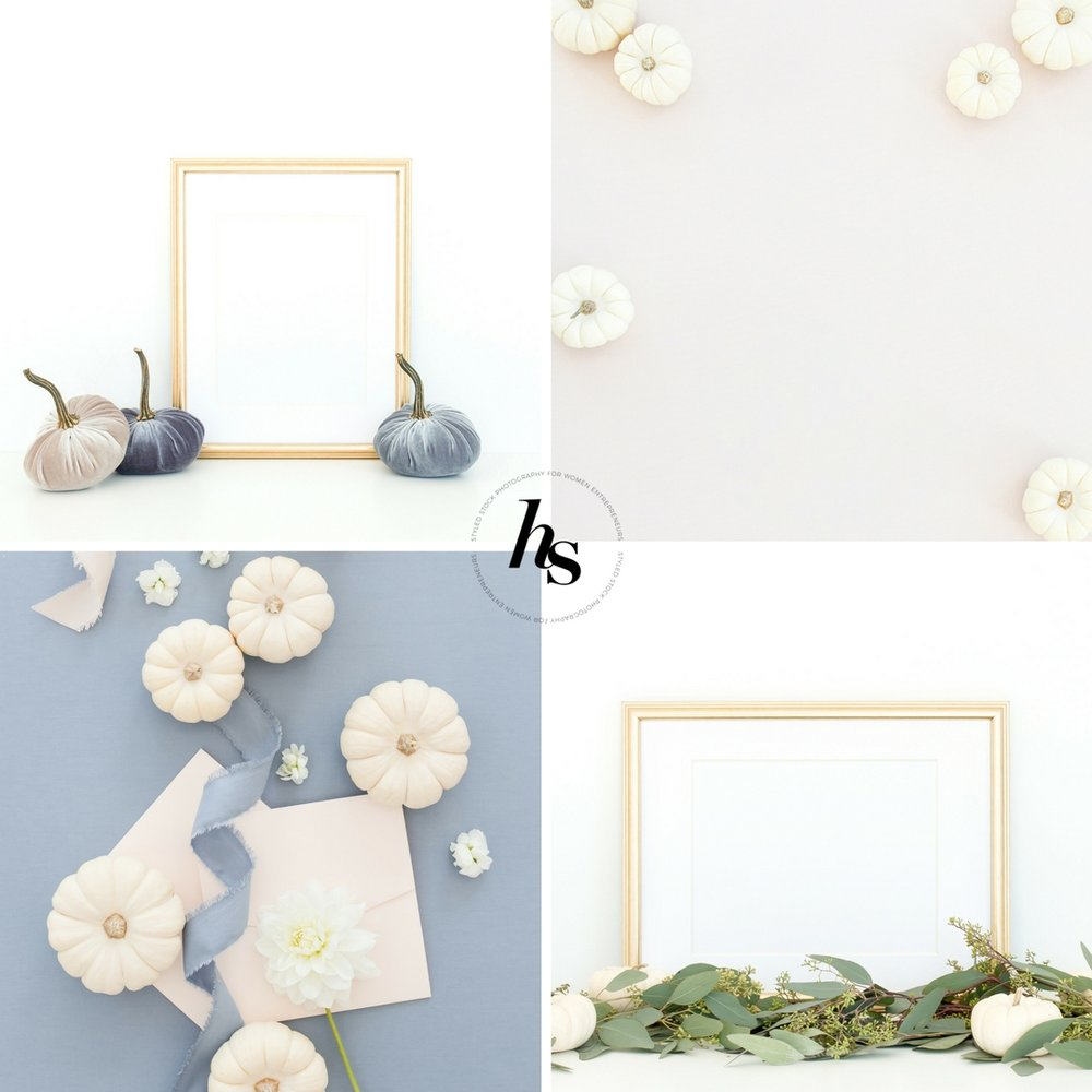 Haute Stock Styled Photography Thanksgiving Autumn White Pumpkins Frames and Mockups